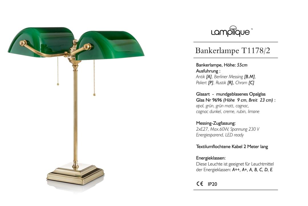 bankers lamp gr n berliner messing lamptique online shop. Black Bedroom Furniture Sets. Home Design Ideas